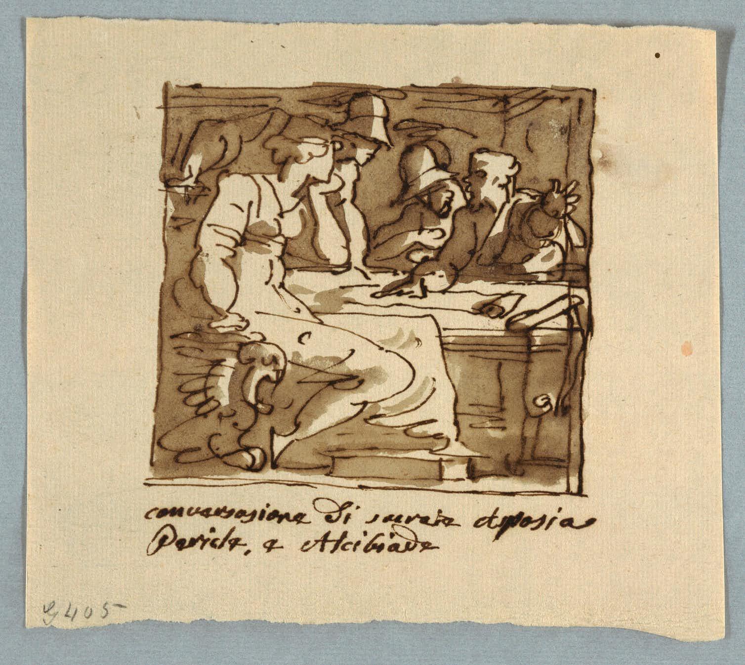 Socrates, Pericles, Alcibiades, Aspasia in Discussion, unknown artist, 1810–25. Credit: Wikimedia Commons
