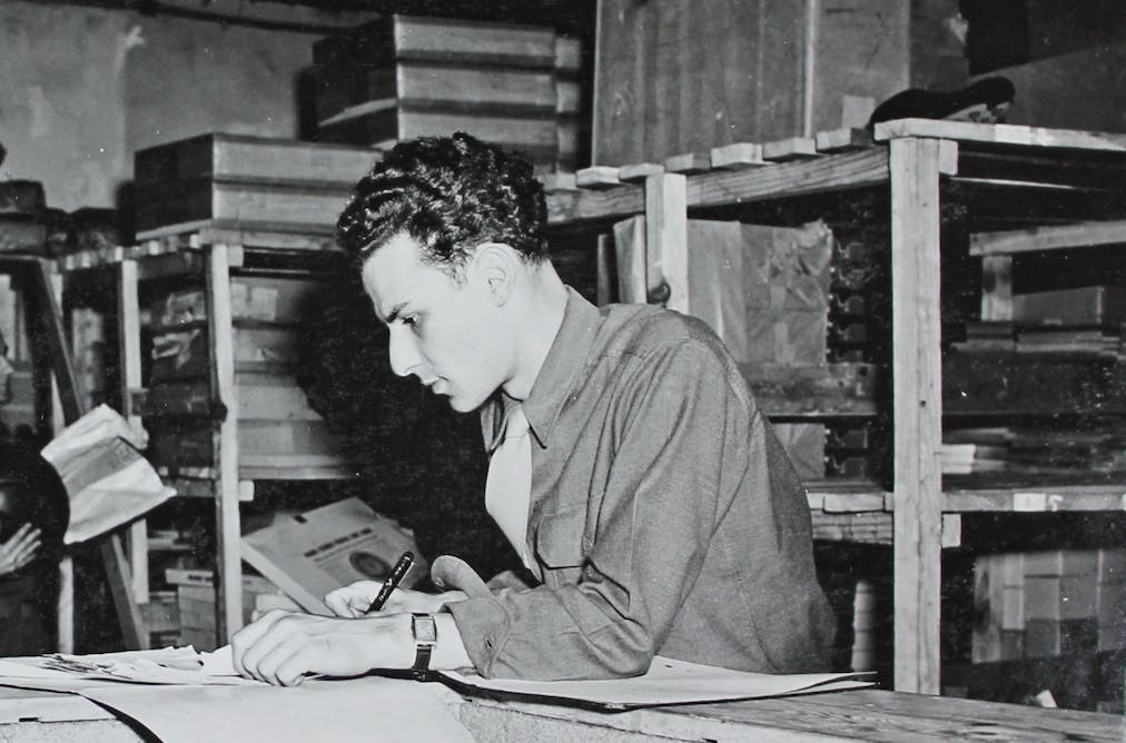 d8de7bf7afd Pfc Elias Friedensohn in June 1945 at the Special Services Distributing  Point