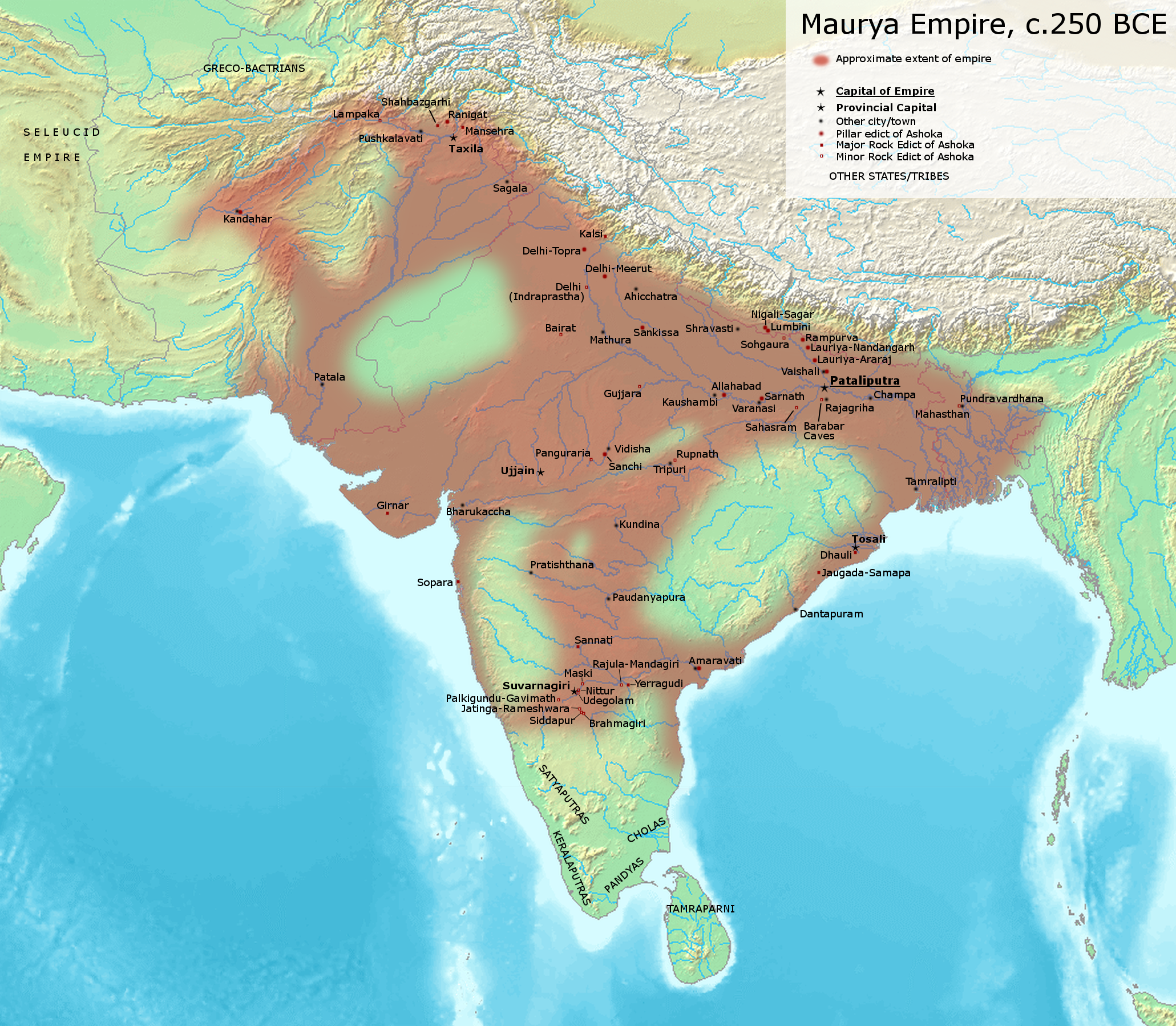The sprawling Maurya Empire in about 250 B.C. Credit: Avantiputra7/Wikimedia Commons, CC BY-SA