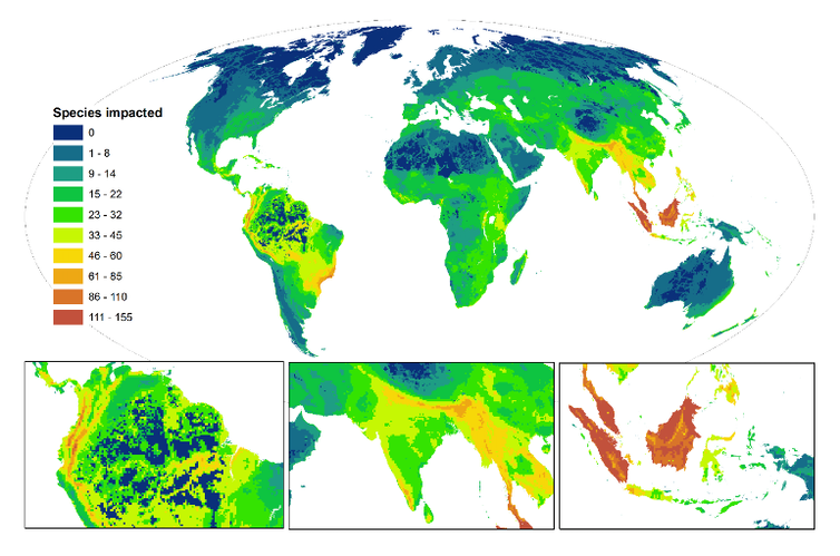 new map reveals hotspots for harm to wildlife
