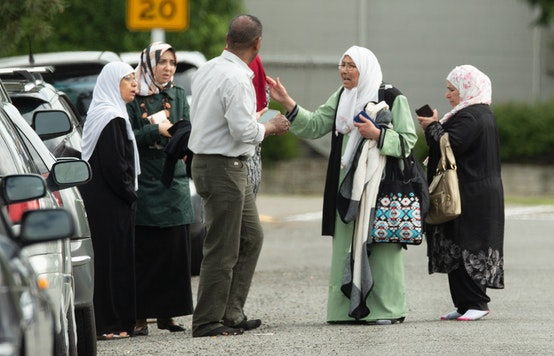 Families outside following a shooting at mosque in Christchurch, New Zealand. AAP/Martin Hunter, CC BY-SA
