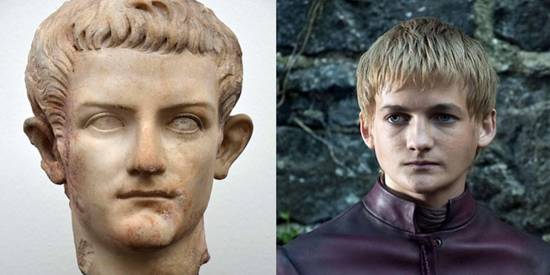 Caligula (en mármol, Ny Carlsberg Glyptotek, Copenhague) y Joffrey Baratheon interpretado por Jack Gleeson (Juego de Tronos, HBO).Author provided