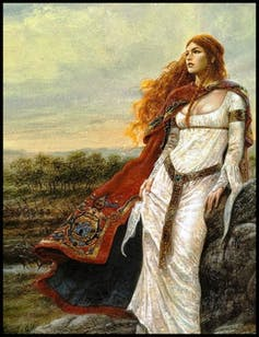 La Reina Boudicca, pintura del siglo XX (artista desconocido).