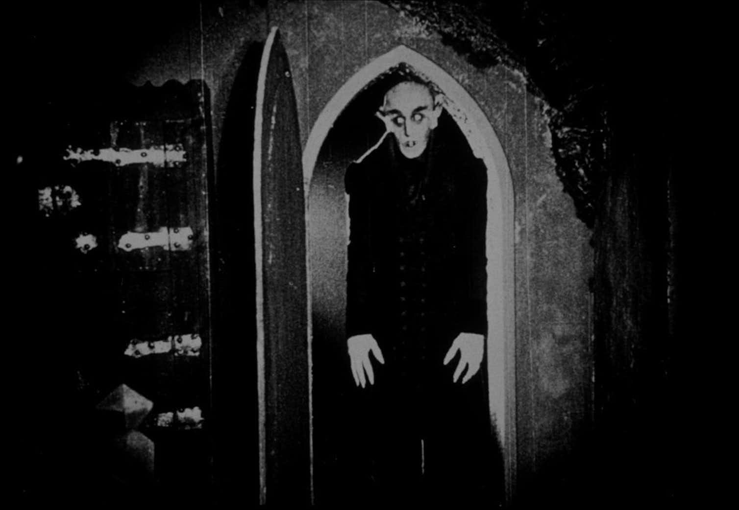 A scene from the 1922 silent horror classic, 'Nosferatu,' influenced by Bram Stoker's 'Dracula.'