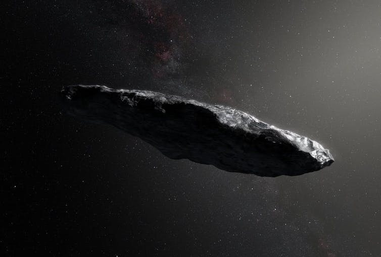 An artist's impression of the first interstellar asteroid: `Oumuamua.