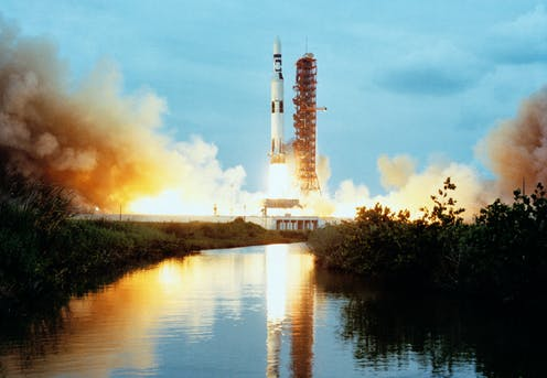 The Saturn V rocket, here launching SkyLab, also sent Apollo 11 to the moon.