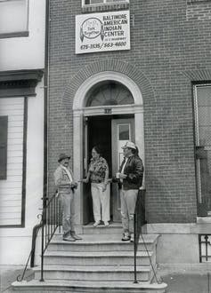 The Baltimore American Indian Center, 113 S. Broadway, is the hub of cultural activities for area Indians.Photo by John Davis, The News American, October 24, 1985. Baltimore News American Photo Archive, Special Collections and University Archives, University of Maryland College Park. Permission granted by the Hearst Corporation, Author provided