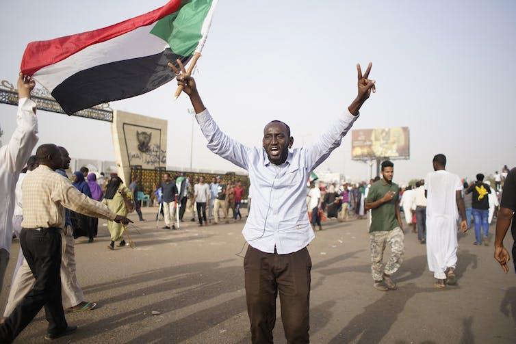 Protests against Sudanese President Omar al-Bashir in April 2019. EPA