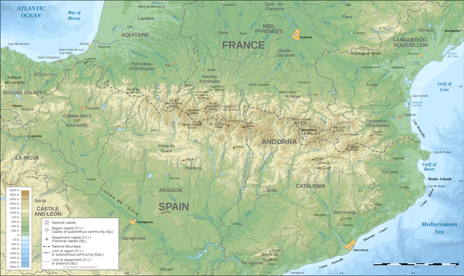 The Pyrenees separate Spain and France. Eric Gaba / wiki, CC BY-SA