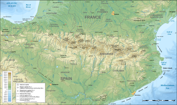 The Pyrenees separate Spain and France - map