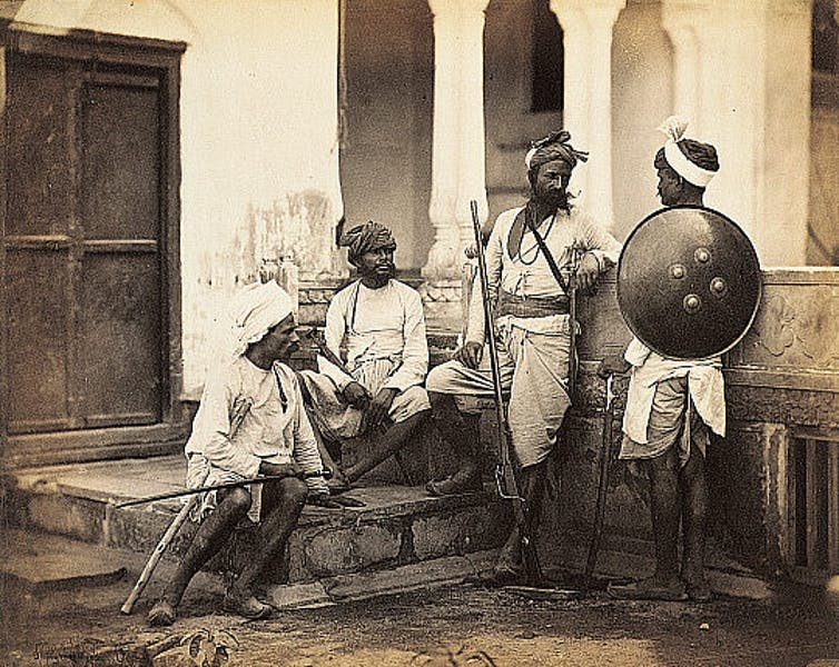A photograph from the 1860s of Rajputs, classified as a high-caste Hindu