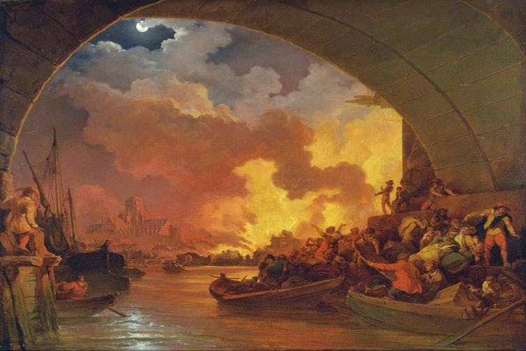 El Gran Incendio de Londres, de Philip James de Loutherbourg (1740–1812).Yale Center for British Art