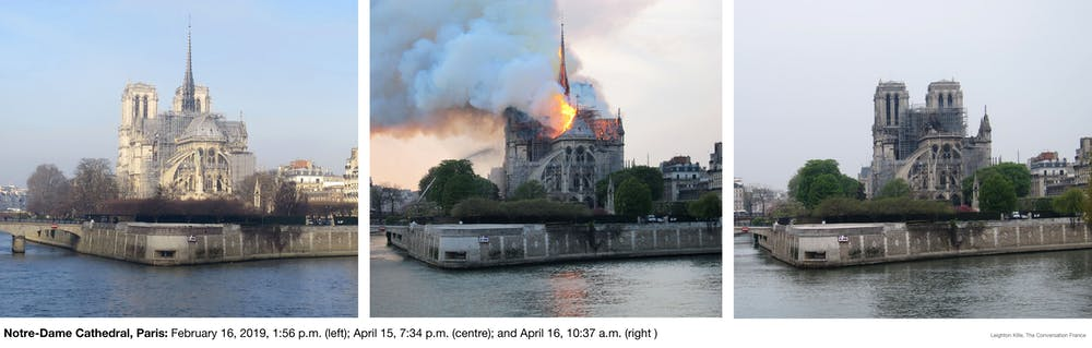 Before the fire, during, and after. Leighton Kille, CC BY