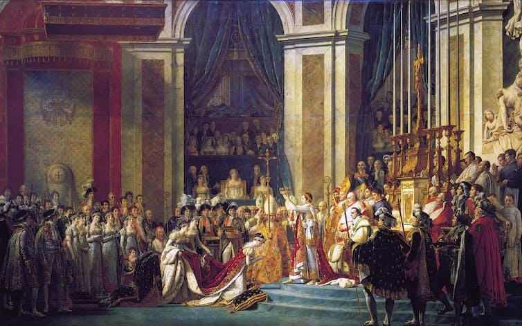 La consagración de Napoleón, por Jacques Louis David, 1808. Museo del Louvre.Wikipedia