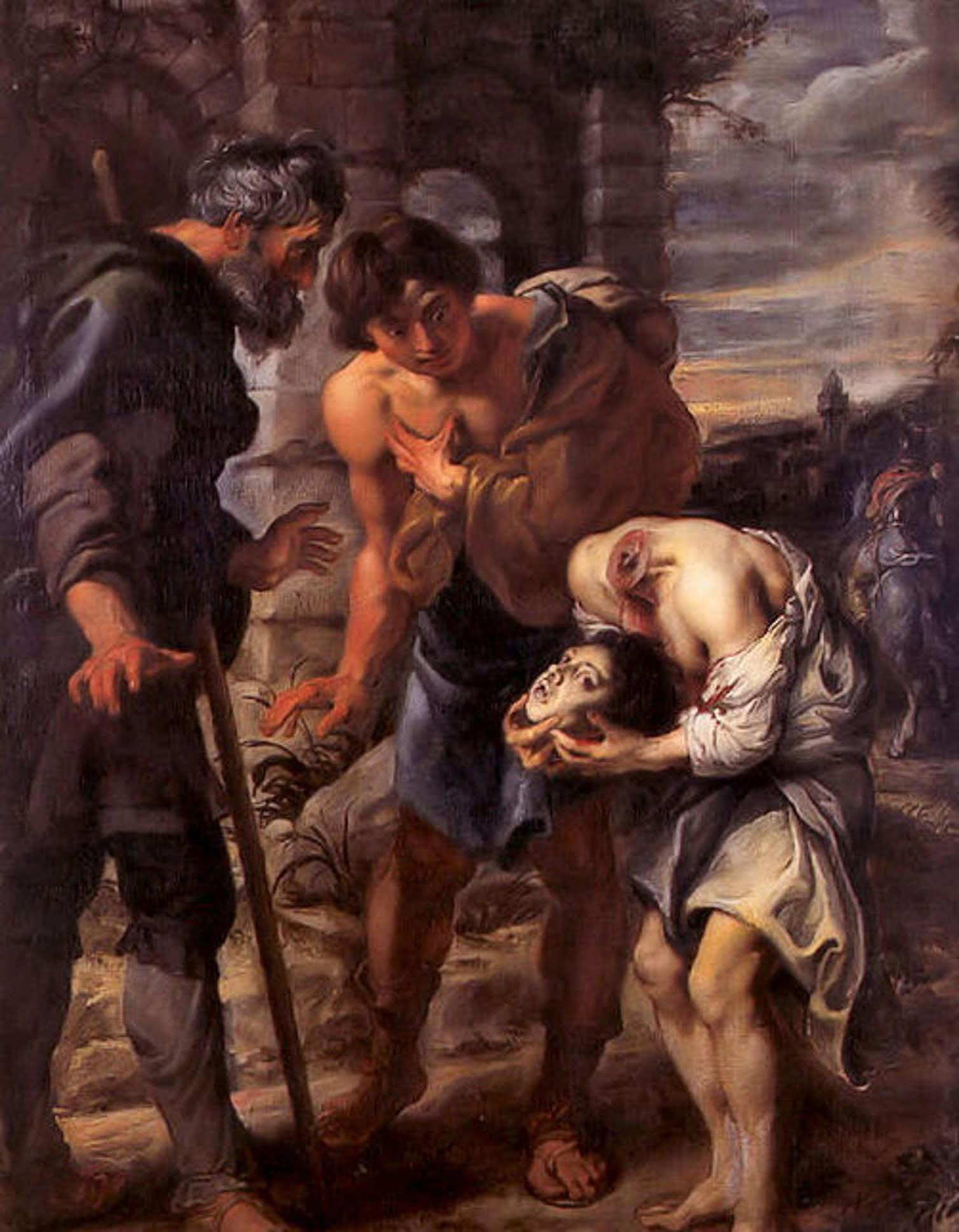 A painting by Sir Peter Paul Rubens illustrates the story of the 9-year-old martyr Justus, who is said to have held his head in his hands after being decapitated. Credit: Wikimedia Commons