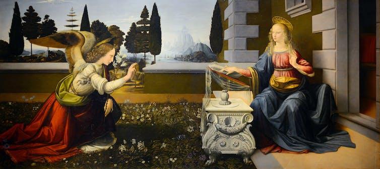 Leonardo da Vinci - Müjde (1472). Galleria degli Uffizi