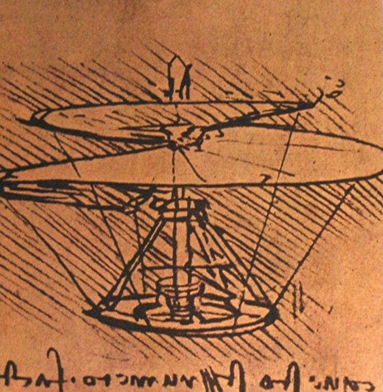 Leonardo da Vinci'nin bir helikopter tasarımı, 15. yüzyılın sonu veya 16. yüzyılın başı.