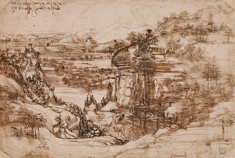 Santa Maria della Neve için çizim manzara. https://www.leonardodavinci.net