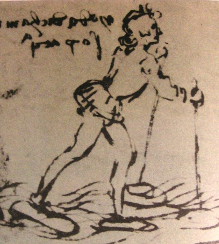 Leonardo'nun suyun üzerinde yürüyen ayakkabılar çizimi başarı değildi. Bortolon, Leonardo'nun Hayatı ve Zamanları, Paul Hamlyn.