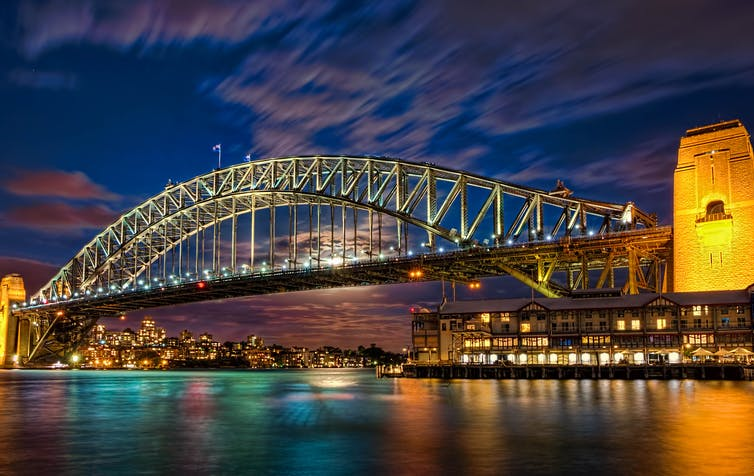 The Sydney Harbour Bridge at night.