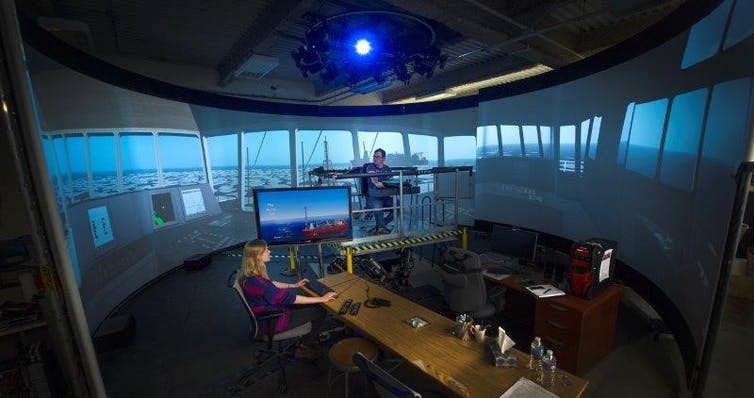 The Virtual Marine Simulation Laboratory at Memorial University allows marine sectors to use AI-rendered scenarios for research and training. (Greg Naterer), Author provided
