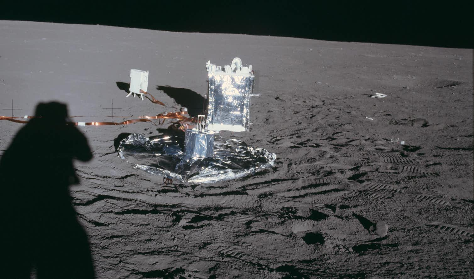 The seismometer deployed on the moon by Apollo 14 (nearest of the three instruments). Photo credit: NASA