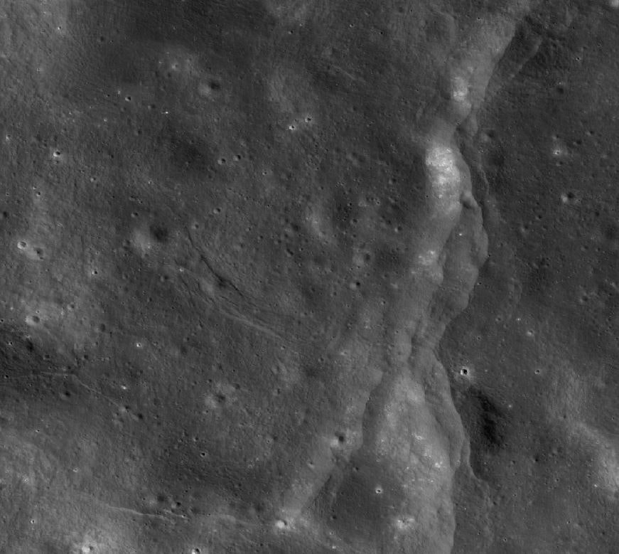 A 3.5km wide view of part of the moon disturbed by faults.