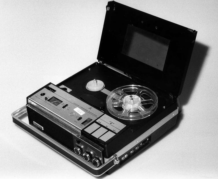 The original Nixon White House tape recorder.  National Archives via the AP