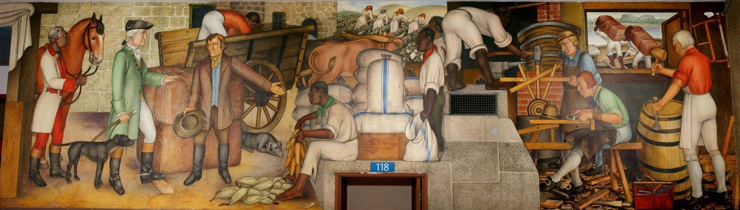 In his mural, Arnautoff strove to emphasise everyday Americans of all races. Credit: Dick Evans, CC BY