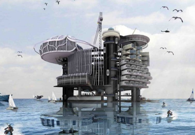 floating city oil rig