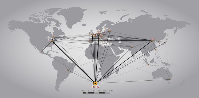 Flujos de carbono incorporados en las exportaciones de las multinacionales estadounidenses.