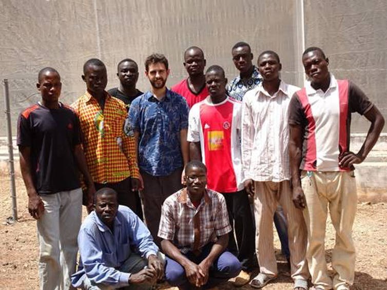 The MosquitoSphere team in Soumousso, Burkina Faso. Credit: Brian Lovett/The Conversation