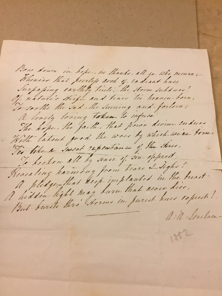 """Draft of The Rainbow"", written by Ada Lovelace. Now in the British Library. Credit: Sam Illingworth/The Conversation"