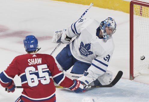 quality design 930d9 50bb4 Toronto Maple Leafs  goaltender Frederik Andersen is scored on by Montreal  Canadiens  Andrew Shaw during second period NHL hockey action in Montreal  in ...