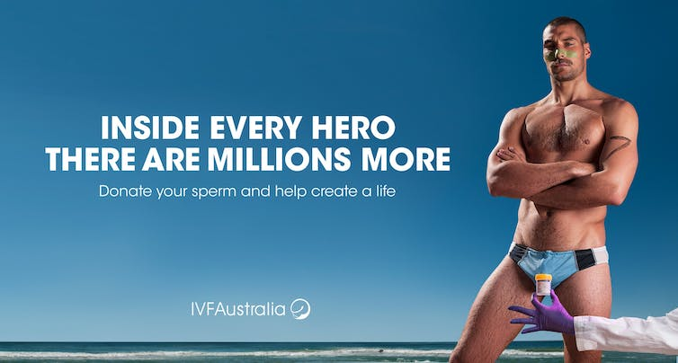 Poster with muscular male swimmer- 'inside every hero there are millions more. Donate your sperm and help create a life.