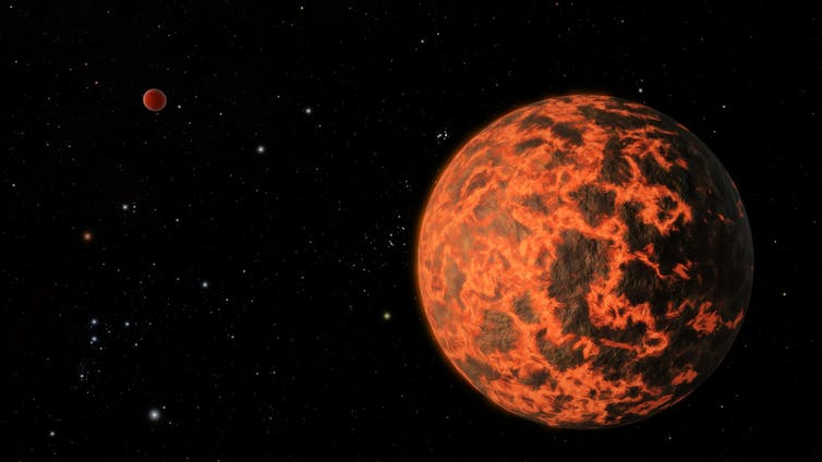An artist's impression of early Earth, when it was a molten ball of lava flying through space.