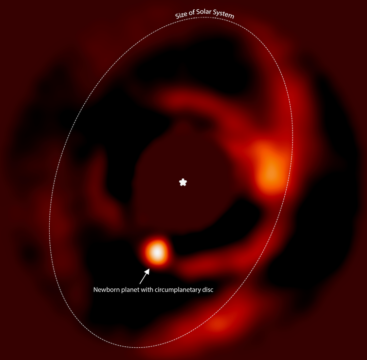 A disc of dust and gas found around a newborn planet could be the birthplace of moons
