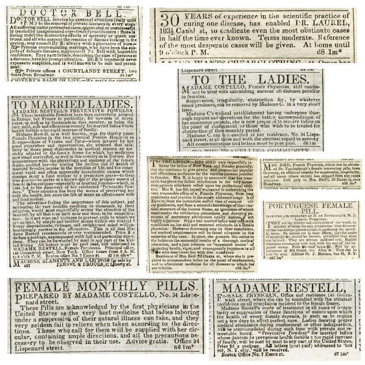 19th-century advertisements for abortion-inducing items and abortion services. The Library Company of Philadelphia, CC BY-NC
