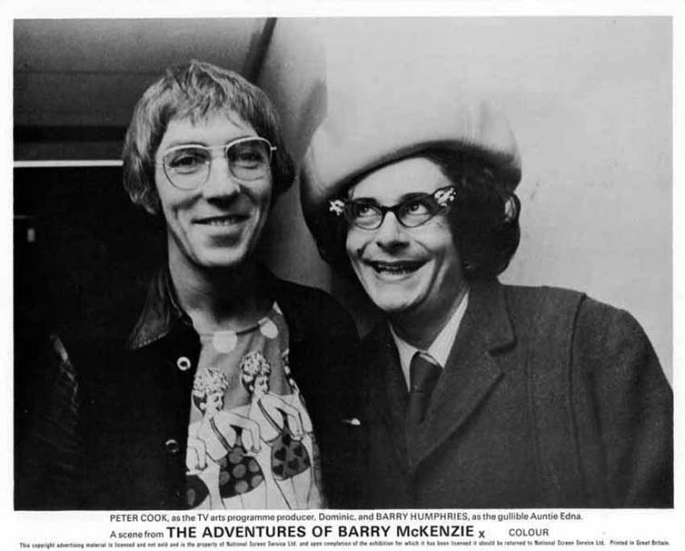 Peter Cook and Barry Humphries in The Adventures of Barry McKenzie