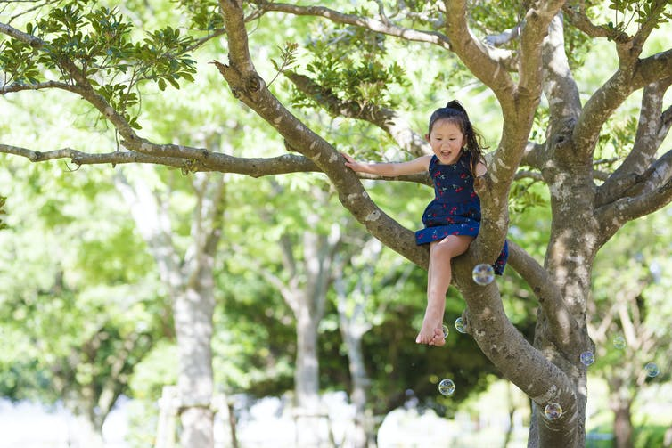 happy-young-child-playing-outside-climbing-a-tree-smiling