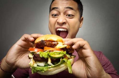 It's always a bloke seen attacking a huge burger in the adverts, isn't it?