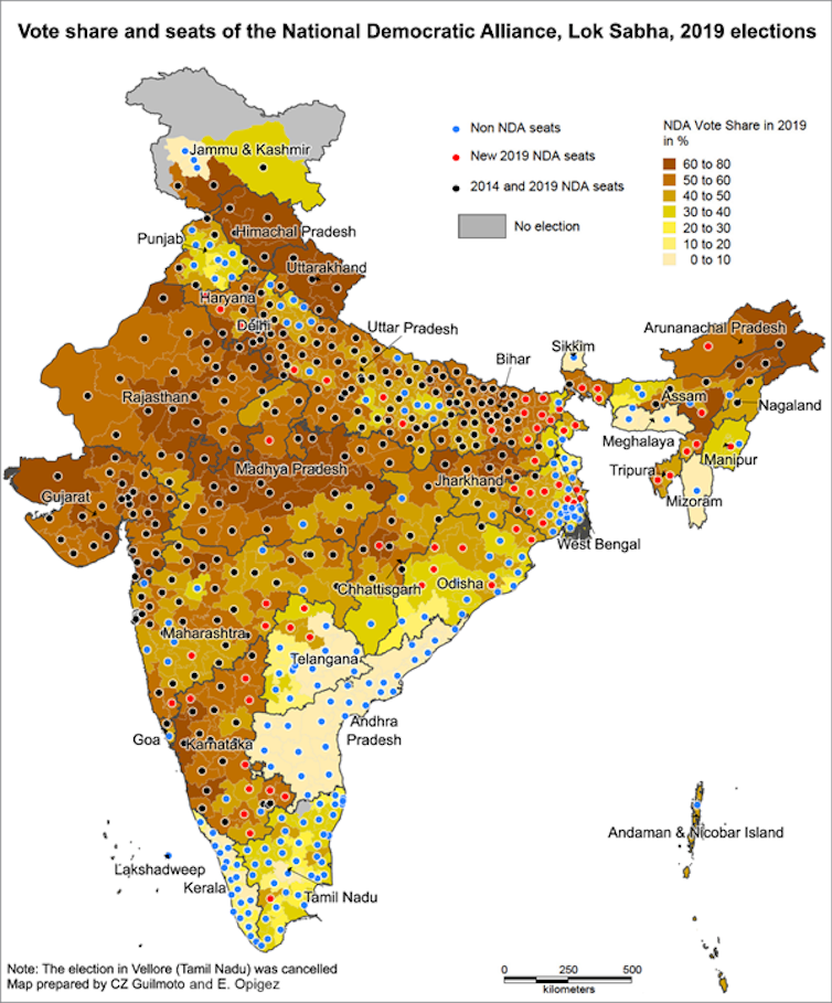 Vote shares in the 2019 Indian legislative election. Credit: Opigez Guilmoto/The Conversation
