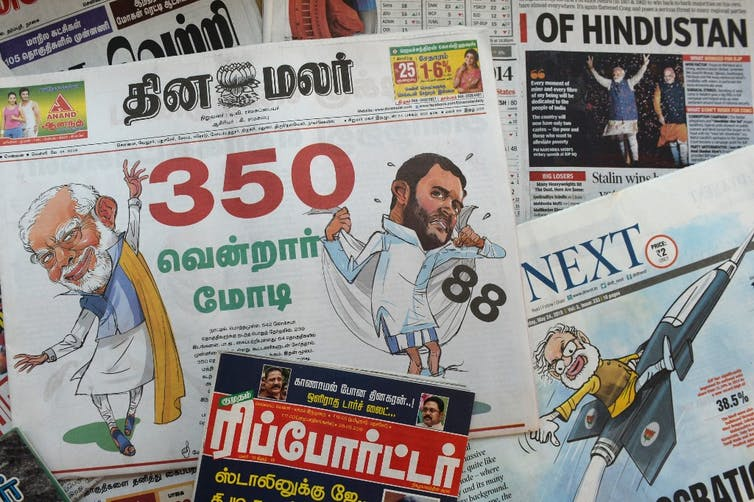 The front pages of newspapers with news of Indian Prime Minister Narendra Modi's general election victory. Credit: Arun Sankar/AFP