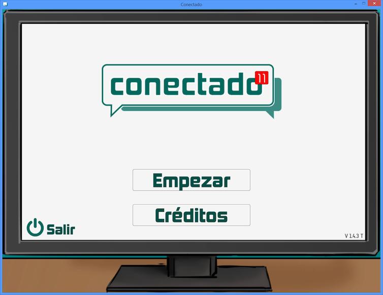 Pantalla de inicio del videojuego Conectado.