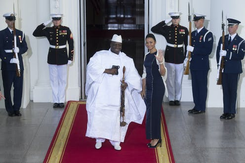 Then President of The Gambia Yahya Jammeh and First Lady Zeinab arrive at the White House in Washington DC for the US Africa Leaders Summit in 2014.