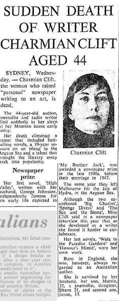 'A woman ahead of her time': remembering the Australian writer Charmian Clift, 50 years on