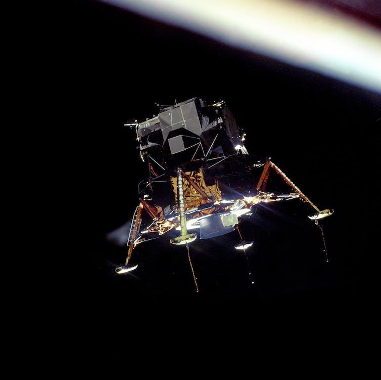 The Eagle prepares to land on the moon.  NASA