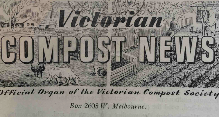 Banner for Victorian Compost News, March 1950.