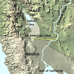 The All American Canal diverts water from the Lower Colorado River to irrigate crops in California's Imperial Valley and supply 9 cities. Although the Colorado River is depicted here as reaching the ocean, it no longer does so due to upstream diversions.USGS