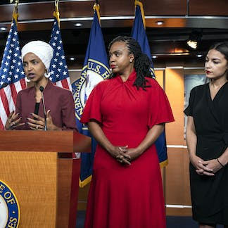 congresswomen rashida tlaib, ilhan omar, ayanna pressley and alexandria  ocasio-cortez hit back at the president's tweets  jim lo scalzo/epa